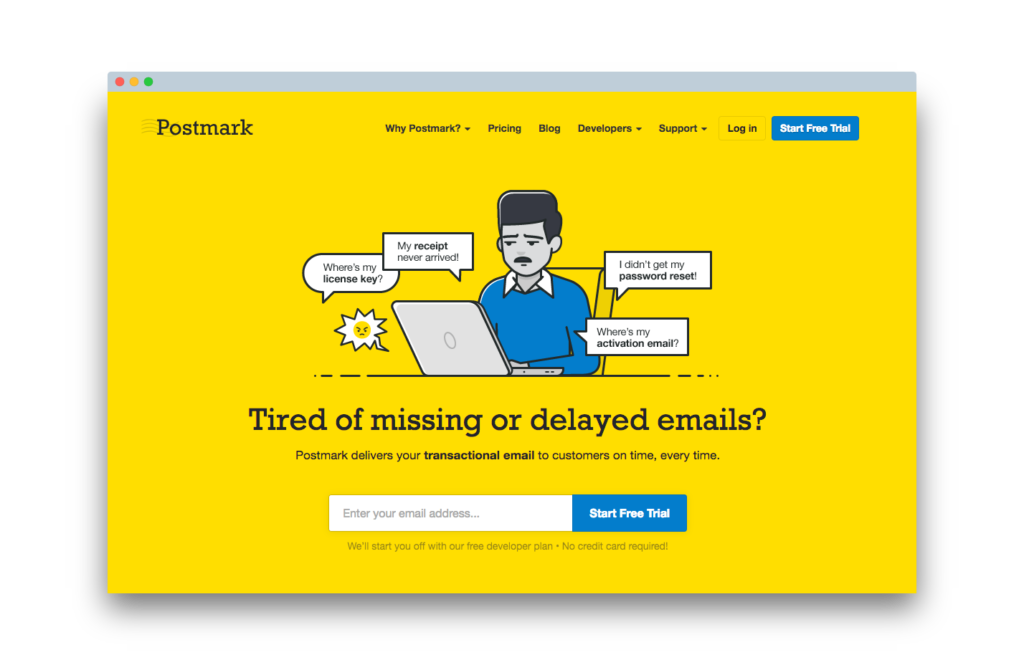 This is an image on the churn buster blog, specifically on a post about best of breed tools for subscription based businesses. It is an image of Postmark's homepage, which is a great tool for any subscription based business or subscription site.