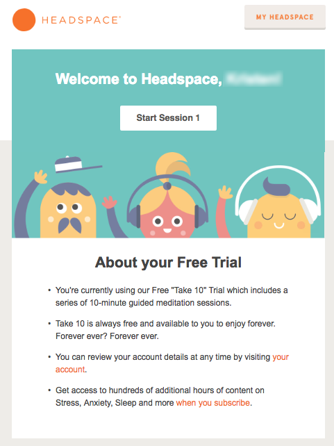 This is an image on the churn buster blog. This post is all about the retention emails saas and subscription based businesses should be sending. This is an image of an onboarding retention emails from Headspace.